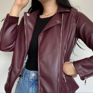 DEX Burgundy Moto Leather Jacket
